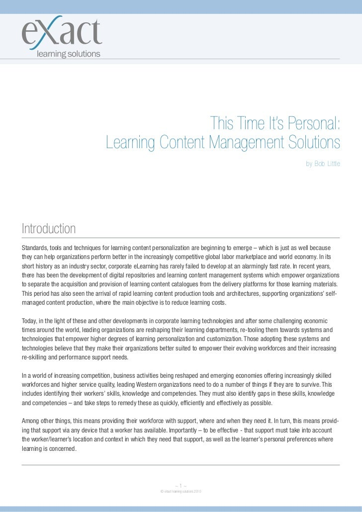 This Time It's Personal:                                  Learning Content Management Solutions                           ...