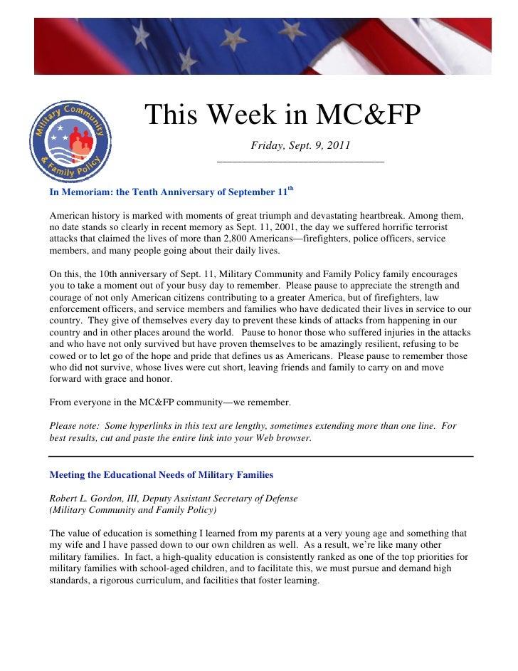 This week in mcfp sept  9 2011