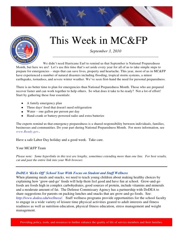 This week in military community & family policy 03 sept 2010