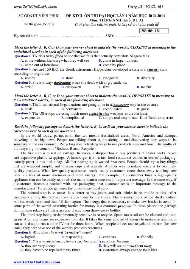 www.DeThiThuDaiHoc.com  SỞ GD&ĐT VĨNH PHÚC Đề thi gồm 06 trang  Trang 1/6 - Mã đ : 161  ĐỀ KTCL ÔN THI ĐẠI HỌC LẦN 1 NĂM H...