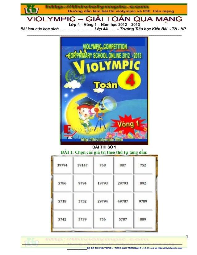 Hướng dẫn Giải Đề thi Violympic Giải toán trên mạng Lớp 4 - vòng 1 - năm học 2013 - 2014
