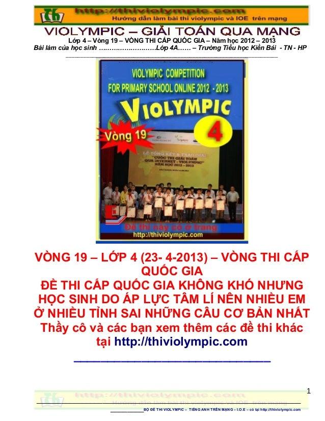 Đề thi Violympic Giải toán trên mạng Lớp 4 - vòng 19 Cấp quốc gia - năm học 2013 - 2014
