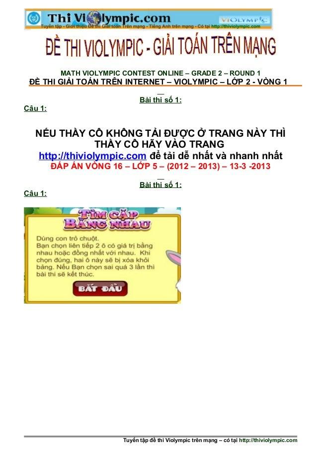 Thi Violympic Giải toán trên mạng Lớp 5 - Vòng 16 - năm học 2012 - 2013