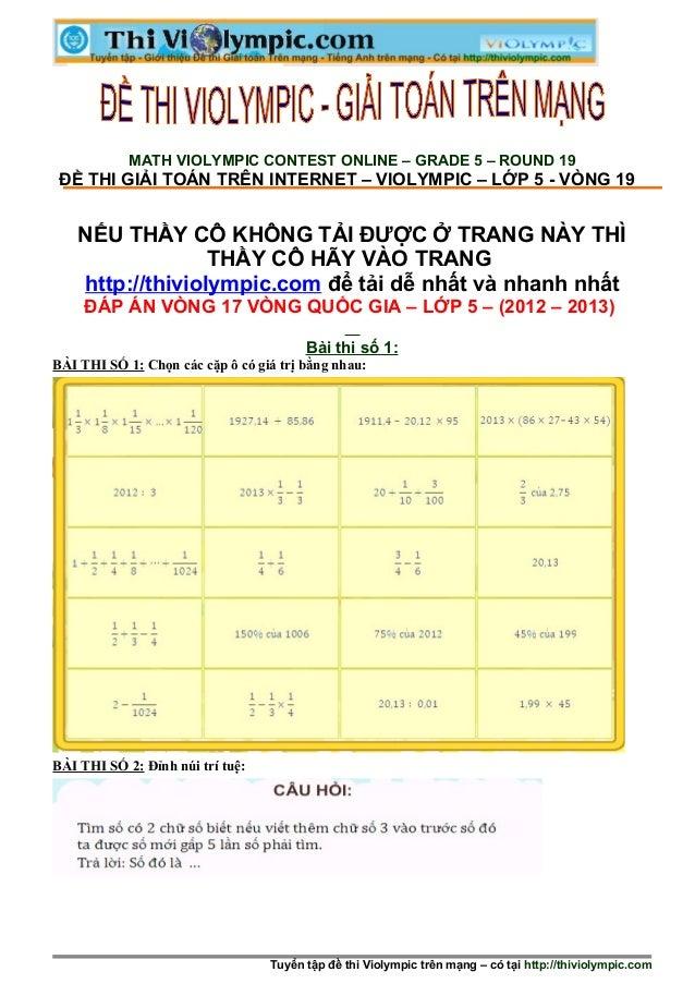 Thi Violympic Giải toán trên mạng Lớp 5 - Vòng 17 - năm học 2012 - 2013