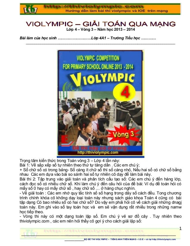 Thiviolympic  giai toan tren mang lop 4 - 2013 - vong 3