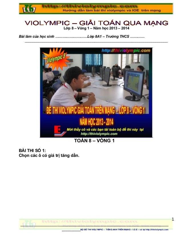 Thiviolympic   Thi giải toán trên mạng Lớp 8 vòng 1- Năm học 2013 - 2014
