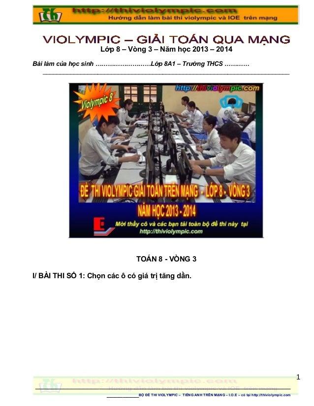 Thiviolympic   Thi giải toán trên mạng Lớp 8 vòng 3 - Năm học 2013 - 2014