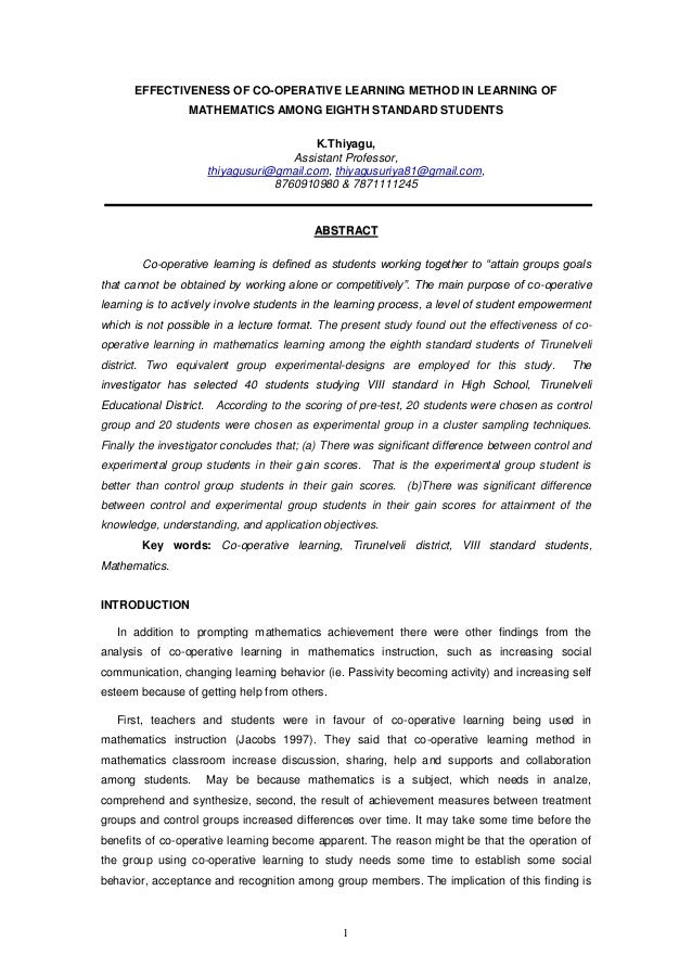 1 EFFECTIVENESS OF CO-OPERATIVE LEARNING METHOD IN LEARNING OF MATHEMATICS AMONG EIGHTH STANDARD STUDENTS K.Thiyagu, Assis...