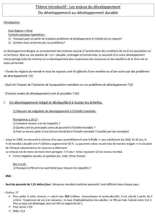 Thème introductif : Les enjeux du développement Du développement au développement durable Introduction Docs Nigeria + Chin...