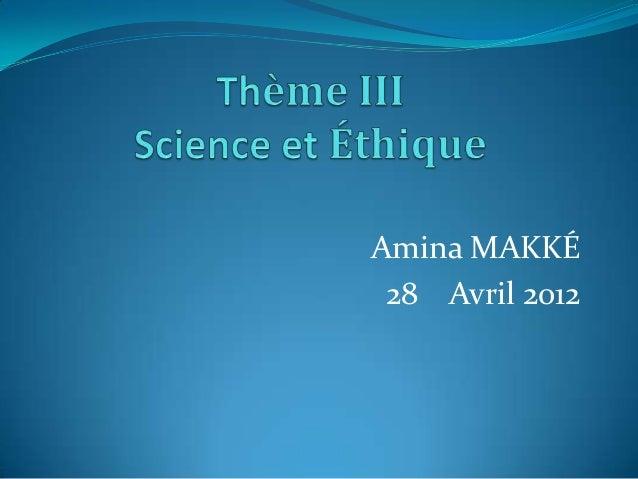 Amina MAKKÉ 28 Avril 2012