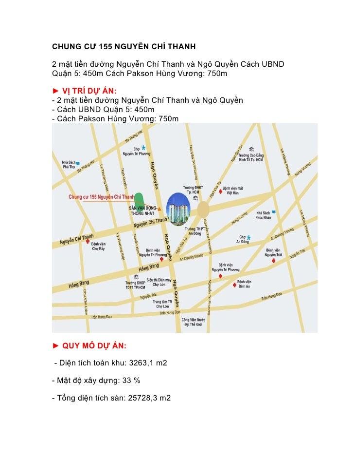 CHUNG CƯ 155 NGUYỄN CHÍ THANH2 mặt tiền đường Nguyễn Chí Thanh và Ngô Quyền Cách UBNDQuận 5: 450m Cách Pakson Hùng Vương: ...