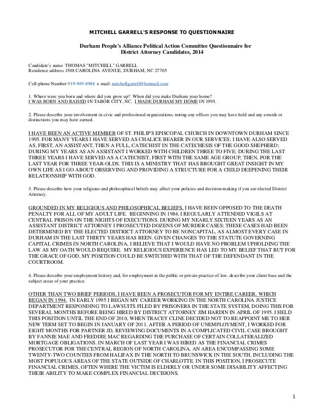 Mitchell Garrell 2014 PA-PAC Questionnaire