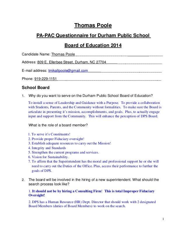 Thomas Poole 2014 PA PAC Questionnaire