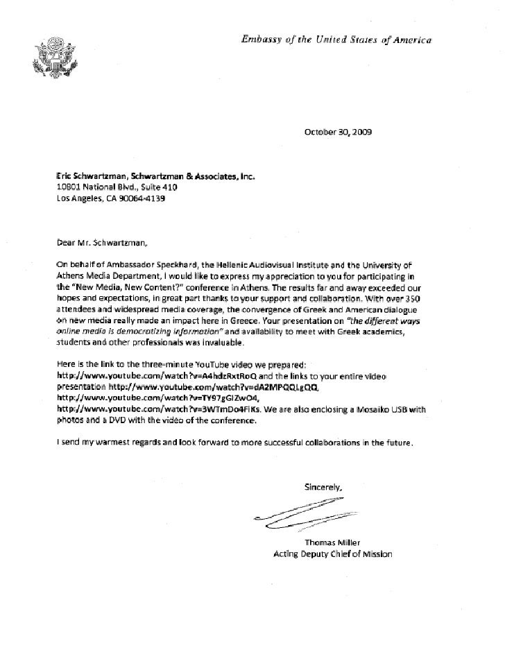 Letter from Thomas Miller, Deputy Chief of Mission