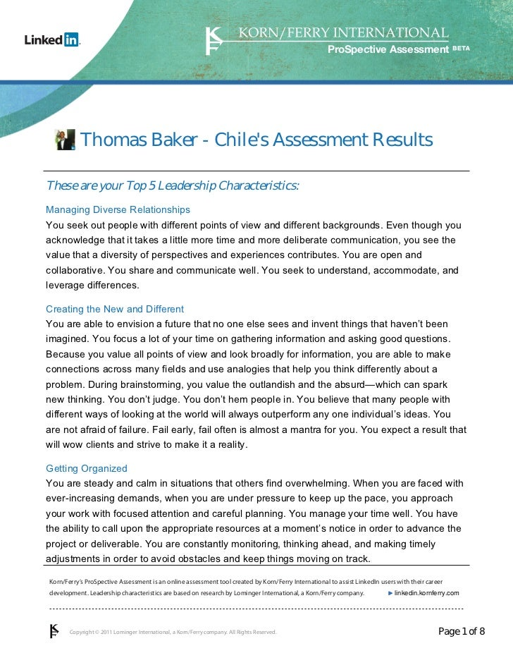 Thomas Baker Leadership Assessment: Envision The Future