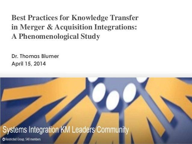 Thomas Blumer - Knowledge Transfer in M&A