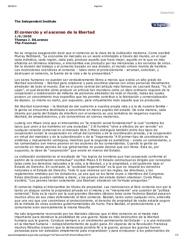 Thomas di lorenzo   el comercio y el ascenso de la libertad