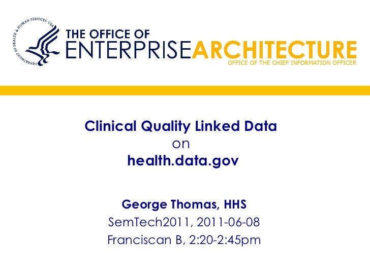 Clinical Quality Linked Data  on   health.data.gov George Thomas, HHS SemTech2011, 2011-06-08 Franciscan B, 2:20-2:45pm