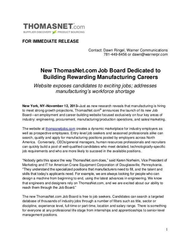 FOR IMMEDIATE RELEASE Contact: Dawn Ringel, Warner Communications 781-449-8456 or dawn@warnerpr.com  New ThomasNet.com Job...