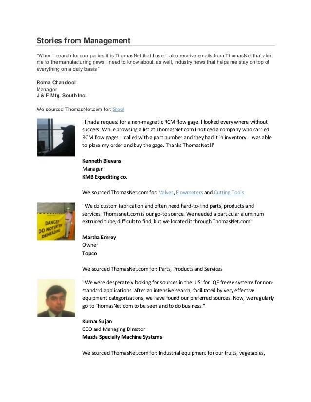 """Stories from Management""""When I search for companies it is ThomasNet that I use. I also receive emails from ThomasNet that ..."""