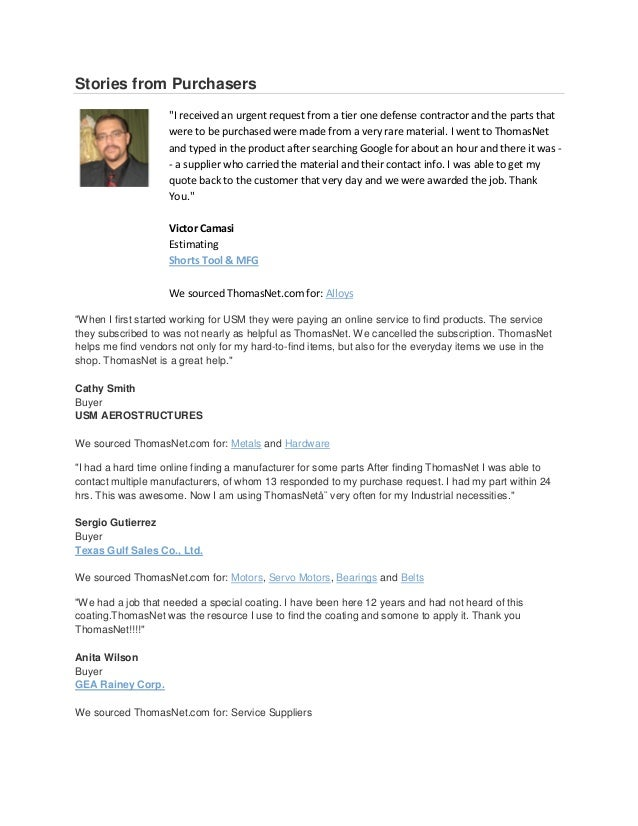 ThomasNet reviews stories from purchasers
