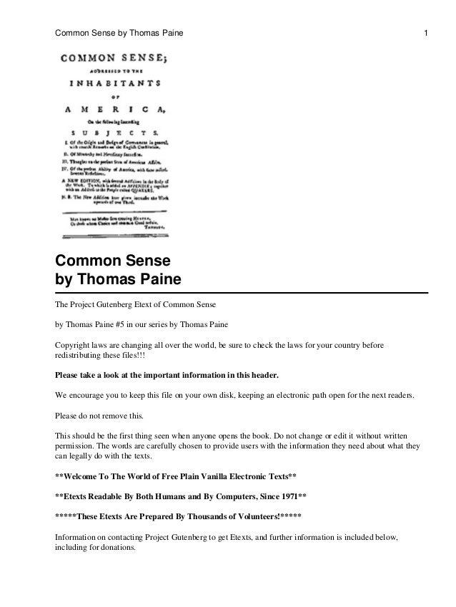 Common Sense by Thomas Paine                                                                                 1Common Sense...