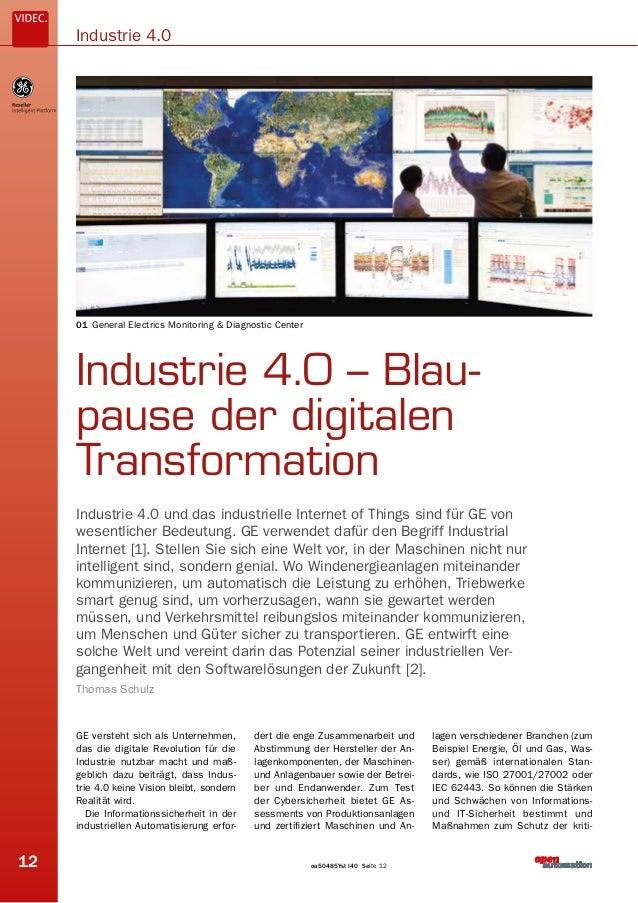 Seite 12oa50485Yst I4012 Industrie 4.0 Industrie 4.0 – Blau- pause der digitalen Transformation Industrie 4.0 und das indu...