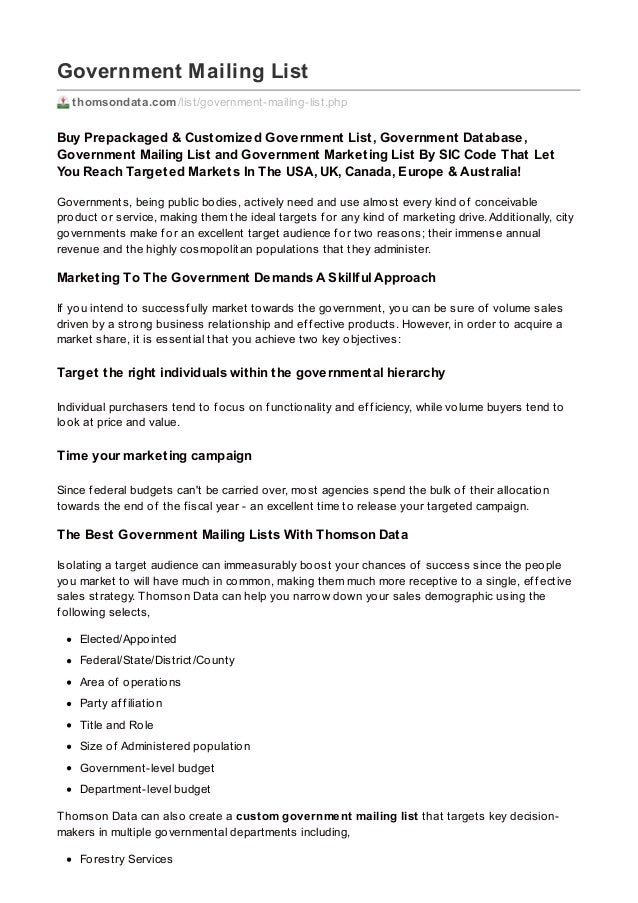 Government Mailing List thomsondata.com/list/government-mailing-list.php Buy Prepackaged & Customized Government List, Gov...