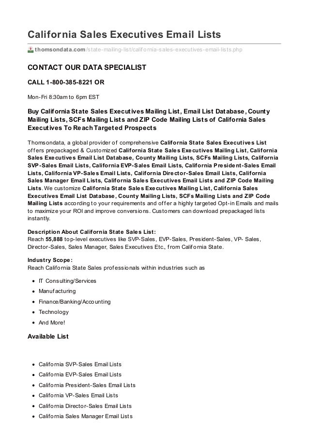 Thomsondata.com california sales-executives_email_lists
