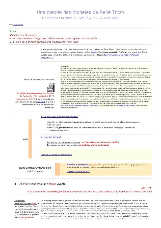 Une théorie des modèles de René Thom Comment l'utiliser en SVT ? (en travaux 2005-2006) retour page d'accueil  Projet: Mod...