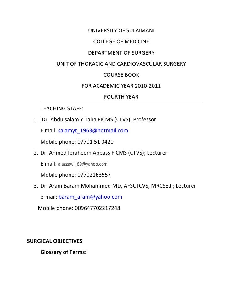 5th year Course Book/Thoracic & Cardiovascular Surgery