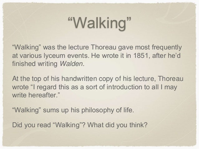 walking essay by thoreau