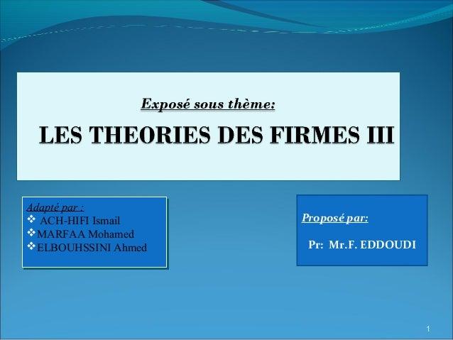 Proposé par: Pr: Mr.F. EDDOUDI Adapté par :  ACH-HIFI Ismail MARFAA Mohamed ELBOUHSSINI Ahmed Adapté par :  ACH-HIFI I...