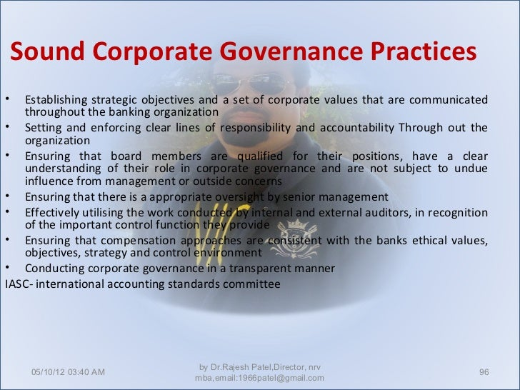 the roles of corporate governance in Effective corporate governance in health care corporate governance is a multifaceted set of processes with regard to clinical governance, the role of the board.