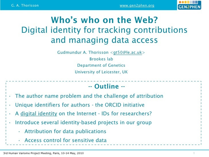 Who's who on the Web? - Digital identity for tracking contributions and managing data access