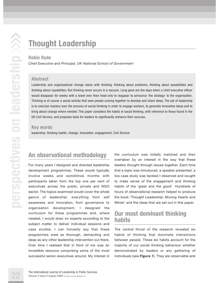 Thought Leadership perspectives on leadership                               Robin Ryde                              Chief ...