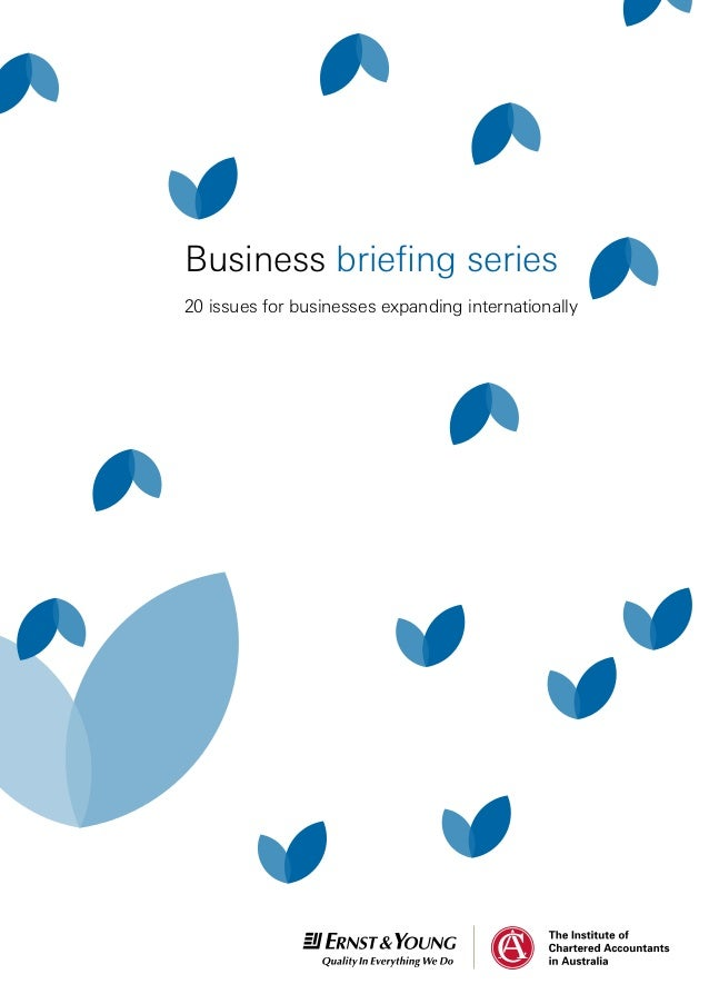20 issues for businesses expanding internationally Business briefing series