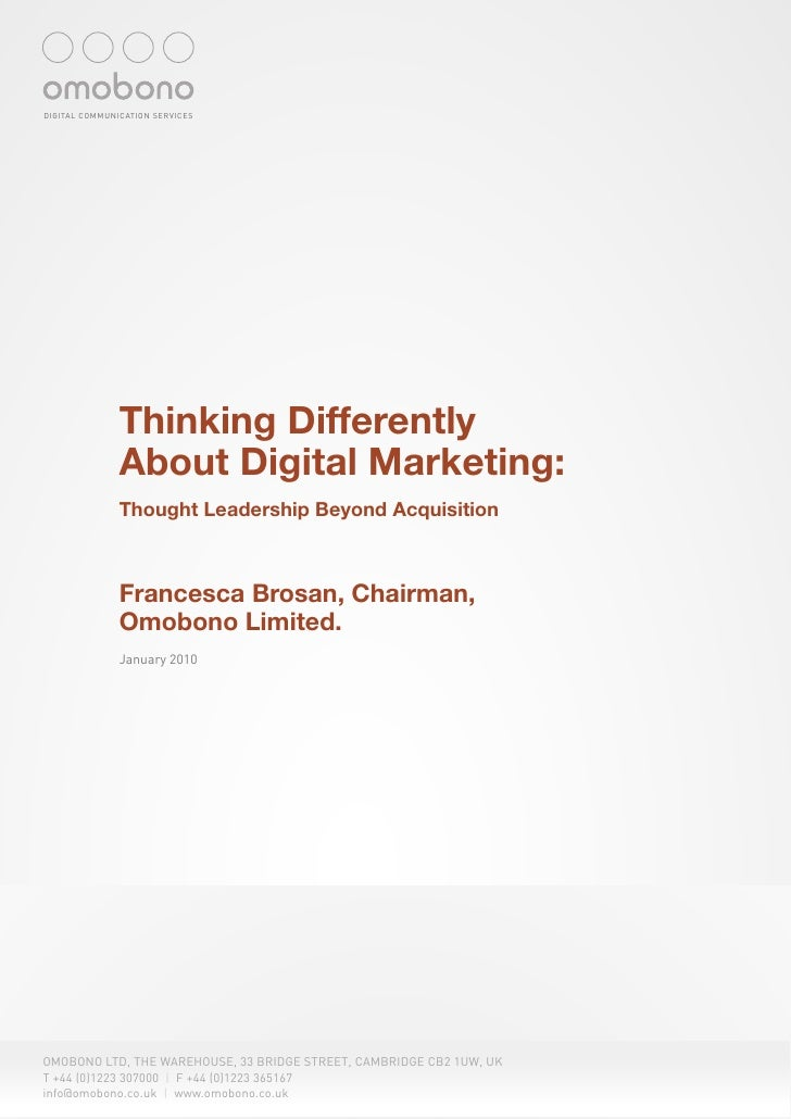 Thinking Differently about Digital Marketing