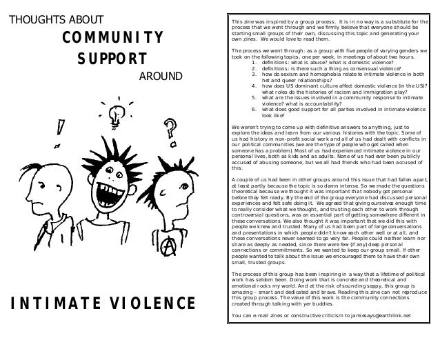 Thoughts about community support  intimate violence