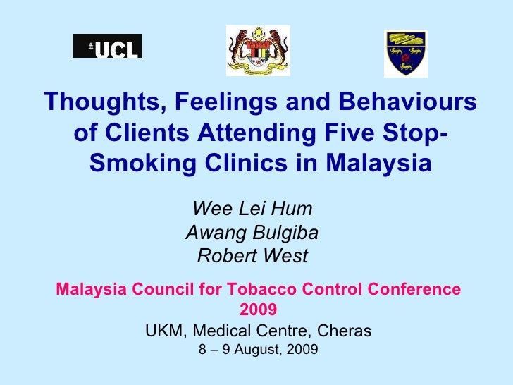 Thoughts, Feelings And Behaviours Of Clients Attending Five Stop Smoking Clinics In Malaysia