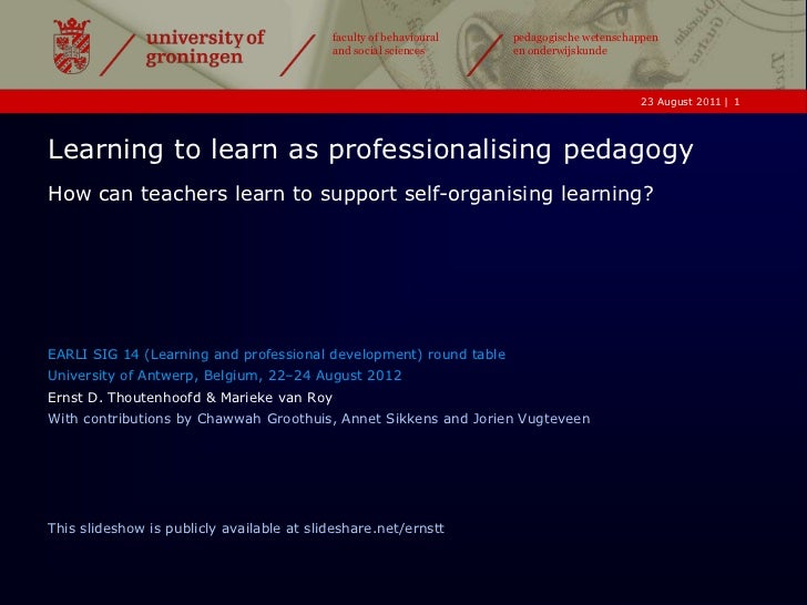 Learning to learn as professionalising pedagogy
