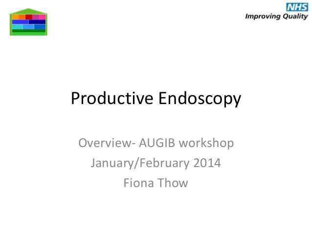 Fiona Thow - productive endoscopy service improvement toolkit