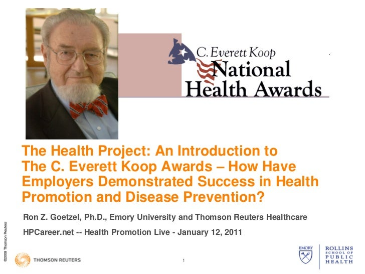 C Everett Koop - The Health Project, National Health Awards