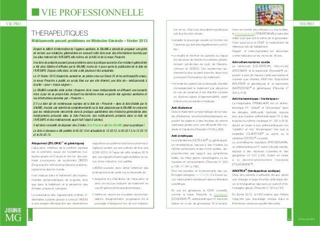 VIE PROFESSIONNELLE  VIE PRO VIE PRO  JEUNE  MG  22 23  N°6 Avril 2013  THERAPEUTIQUES  Allopurinol (ZYLORIC® et générique...