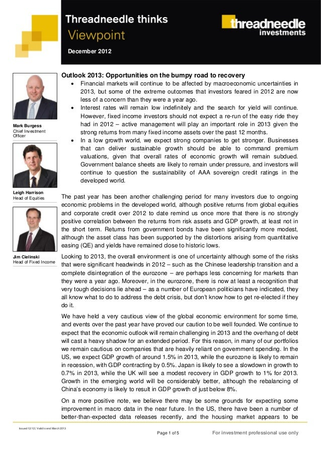 December 2012                                     Outlook 2013: Opportunities on the bumpy road to recovery               ...