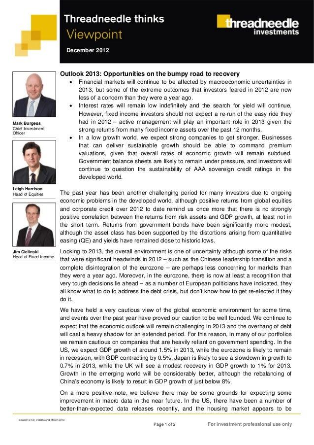 Threadneedle investments. perspectivas y visión general de los mercados en 2013. diciembre 2012