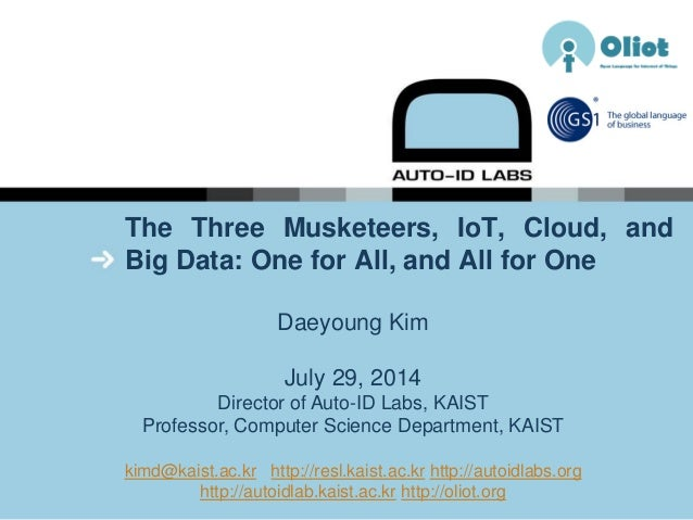 The Three Musketeers, IoT, Cloud, and Big Data: One for All, and All for One Daeyoung Kim July 29, 2014 Director of Auto-I...