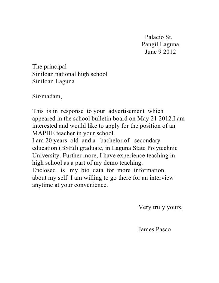 Cover letter and high school principal