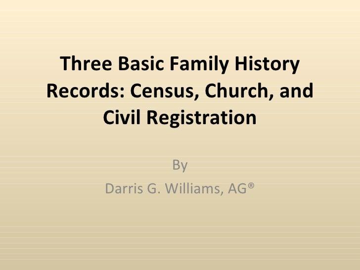 Three Basic Family History Records
