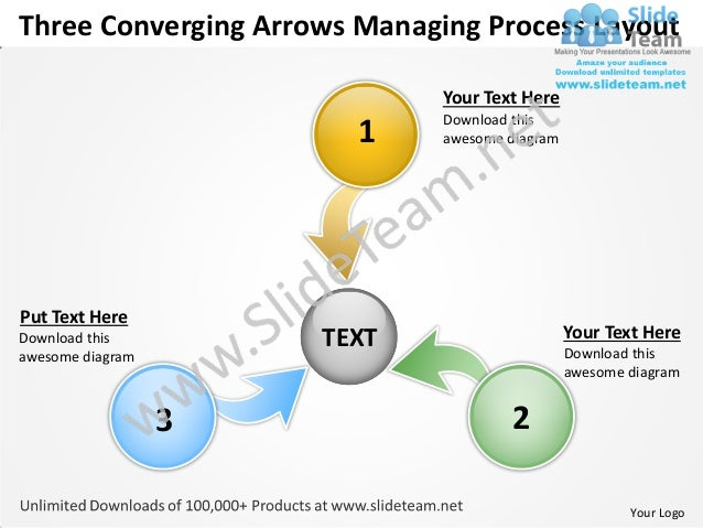 Three converging arrows managing process layout cycle network power point slides
